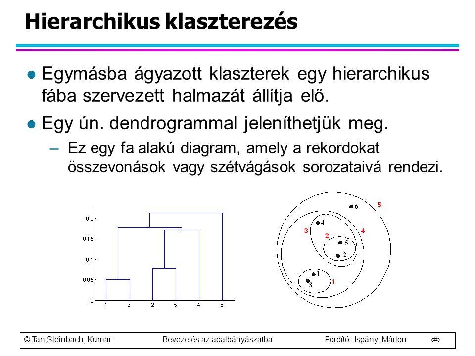 © Tan,Steinbach, Kumar Bevezetés az adatbányászatba Fordító: Ispány Márton 47 Hierarchikus klaszterezés l Egymásba ágyazott klaszterek egy hierarchiku