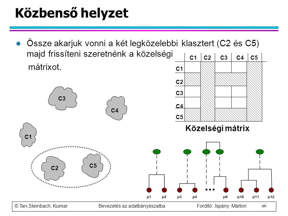 © Tan,Steinbach, Kumar Bevezetés az adatbányászatba Fordító: Ispány Márton 53 Közbenső helyzet l Össze akarjuk vonni a két legközelebbi klasztert (C2