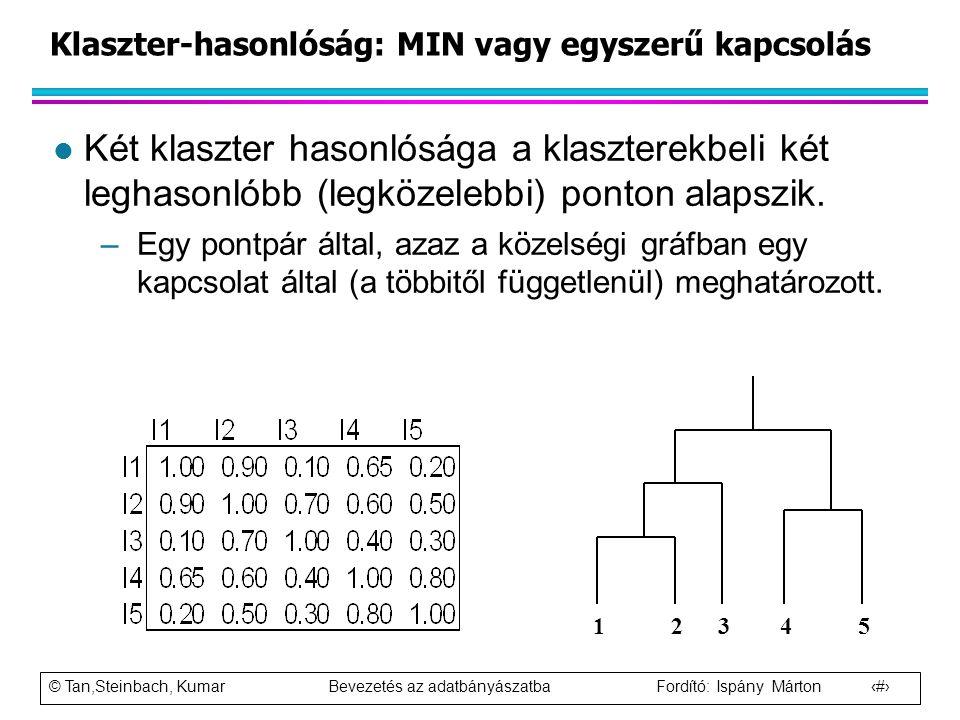 © Tan,Steinbach, Kumar Bevezetés az adatbányászatba Fordító: Ispány Márton 60 Klaszter-hasonlóság: MIN vagy egyszerű kapcsolás l Két klaszter hasonlós