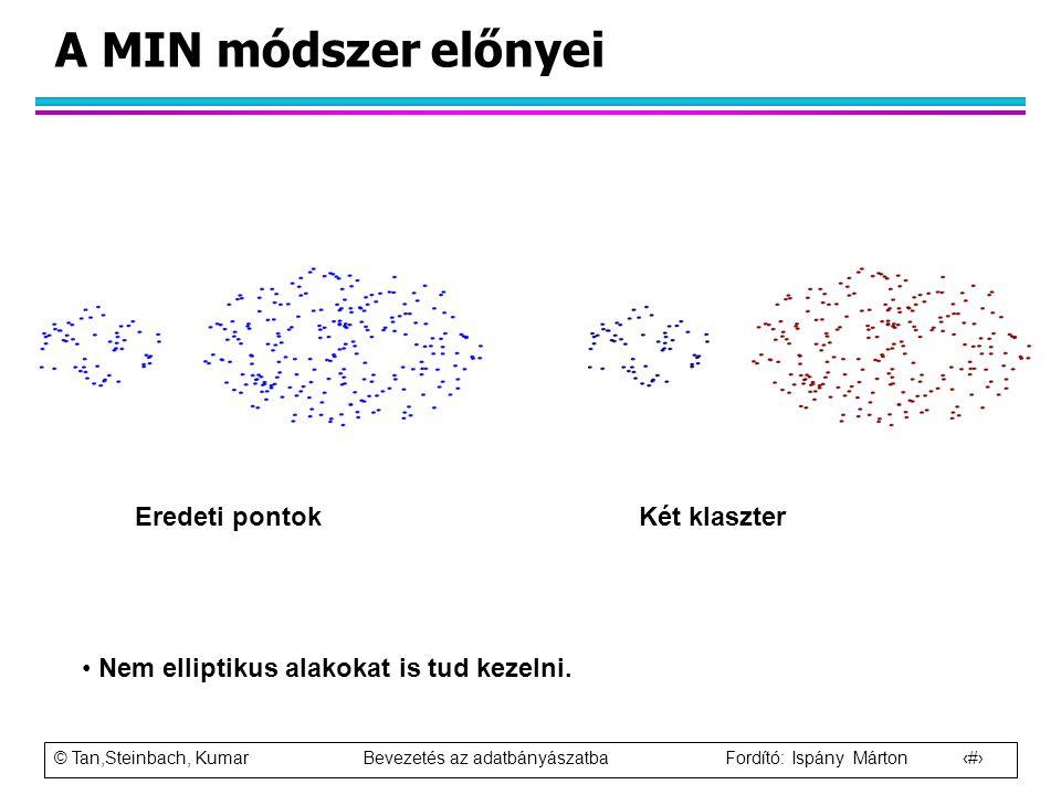 © Tan,Steinbach, Kumar Bevezetés az adatbányászatba Fordító: Ispány Márton 62 A MIN módszer előnyei Eredeti pontok Két klaszter Nem elliptikus alakoka