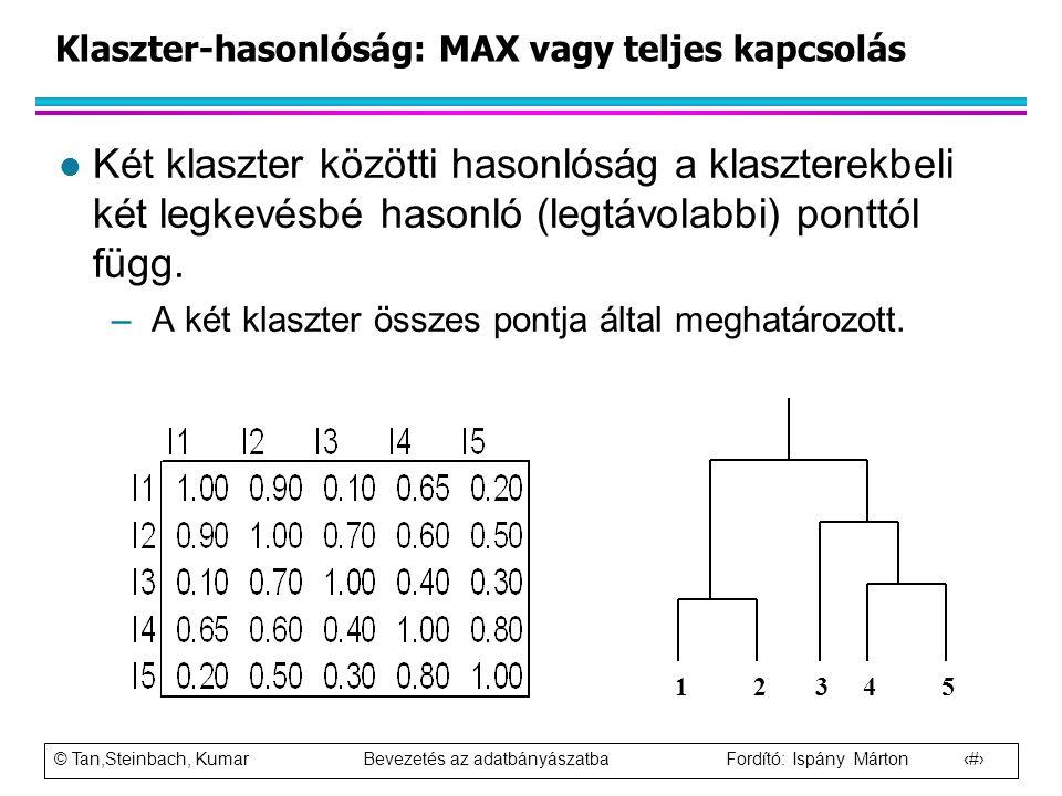 © Tan,Steinbach, Kumar Bevezetés az adatbányászatba Fordító: Ispány Márton 64 Klaszter-hasonlóság: MAX vagy teljes kapcsolás l Két klaszter közötti ha