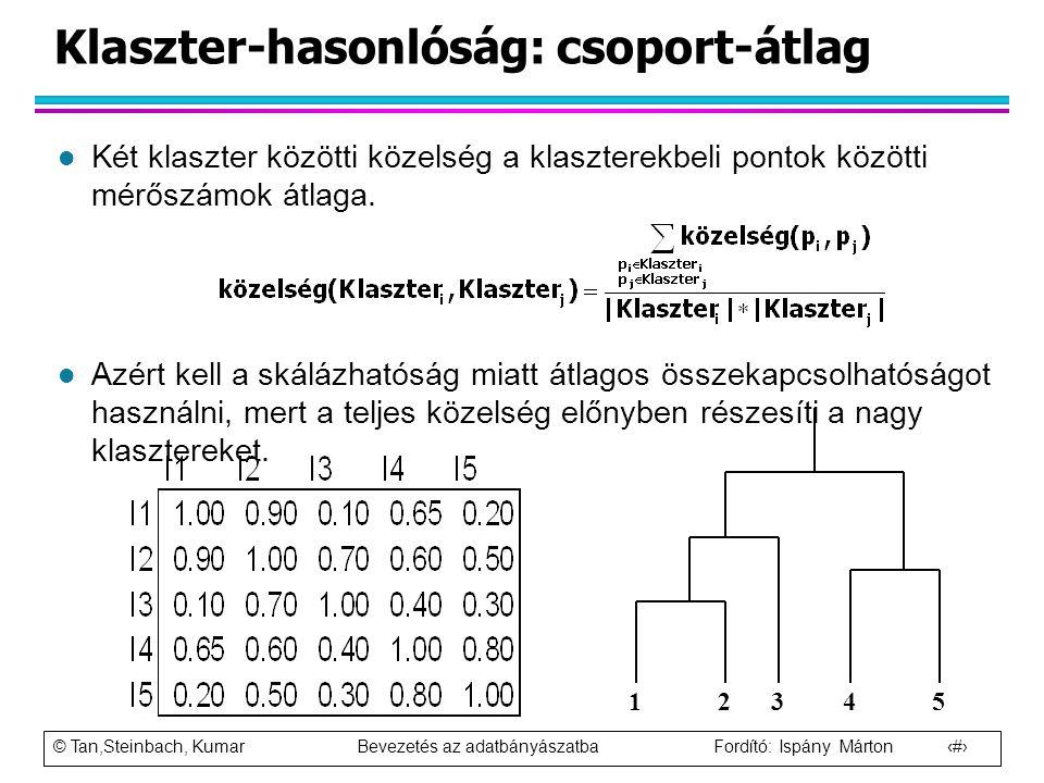 © Tan,Steinbach, Kumar Bevezetés az adatbányászatba Fordító: Ispány Márton 68 Klaszter-hasonlóság: csoport-átlag l Két klaszter közötti közelség a kla