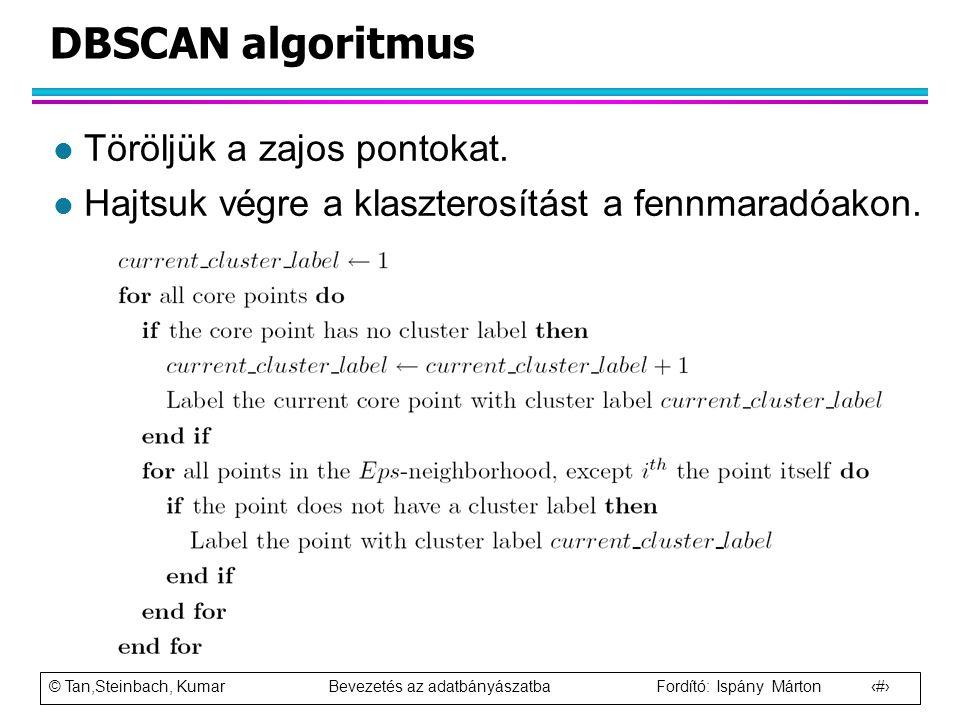 © Tan,Steinbach, Kumar Bevezetés az adatbányászatba Fordító: Ispány Márton 79 DBSCAN algoritmus l Töröljük a zajos pontokat. l Hajtsuk végre a klaszte
