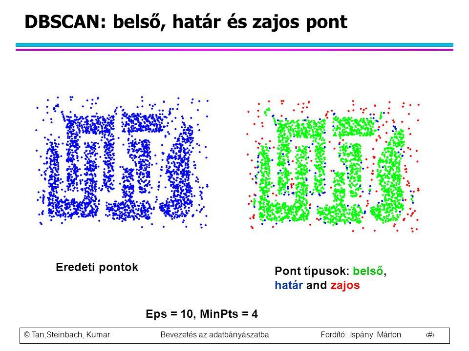 © Tan,Steinbach, Kumar Bevezetés az adatbányászatba Fordító: Ispány Márton 80 DBSCAN: belső, határ és zajos pont Eredeti pontok Pont típusok: belső, h