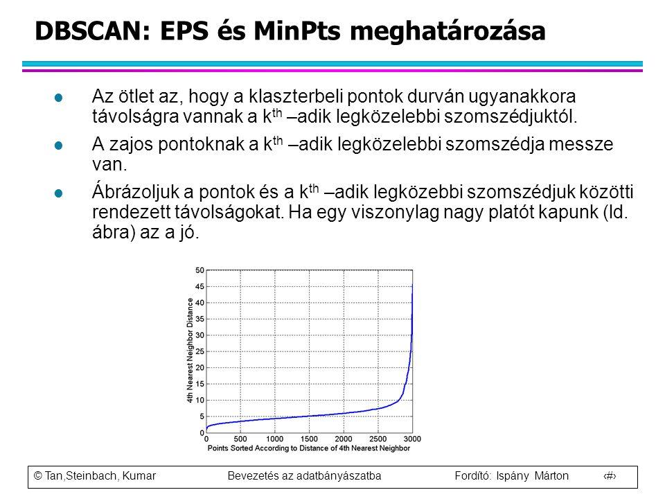 © Tan,Steinbach, Kumar Bevezetés az adatbányászatba Fordító: Ispány Márton 83 DBSCAN: EPS és MinPts meghatározása l Az ötlet az, hogy a klaszterbeli p