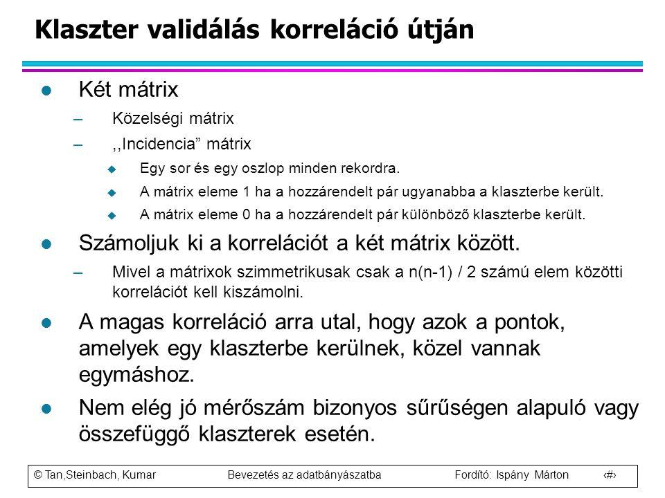 """© Tan,Steinbach, Kumar Bevezetés az adatbányászatba Fordító: Ispány Márton 88 l Két mátrix –Közelségi mátrix –,,Incidencia"""" mátrix  Egy sor és egy os"""