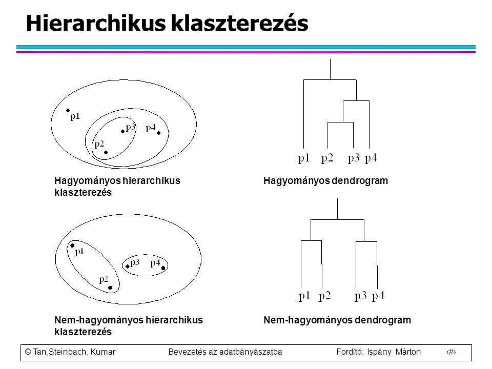 © Tan,Steinbach, Kumar Bevezetés az adatbányászatba Fordító: Ispány Márton 9 Hierarchikus klaszterezés Hagyományos hierarchikus klaszterezés Nem-hagyo