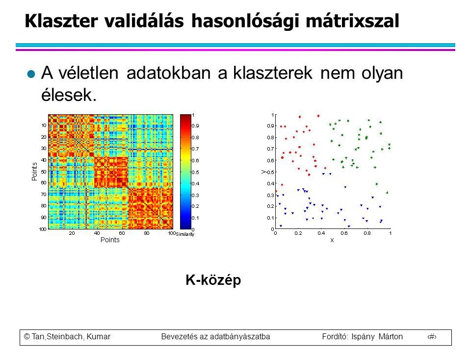 © Tan,Steinbach, Kumar Bevezetés az adatbányászatba Fordító: Ispány Márton 92 Klaszter validálás hasonlósági mátrixszal l A véletlen adatokban a klasz