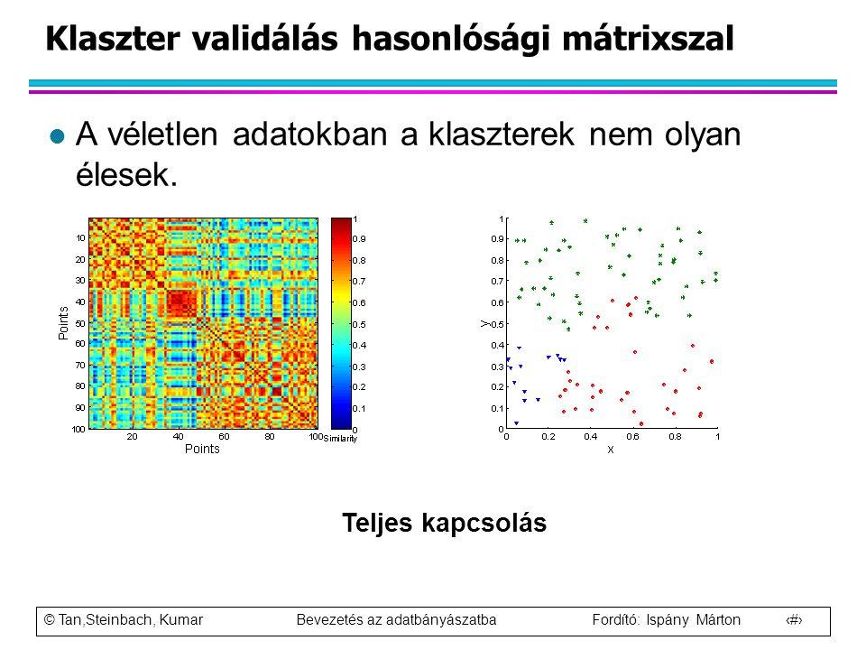 © Tan,Steinbach, Kumar Bevezetés az adatbányászatba Fordító: Ispány Márton 93 Klaszter validálás hasonlósági mátrixszal l A véletlen adatokban a klasz