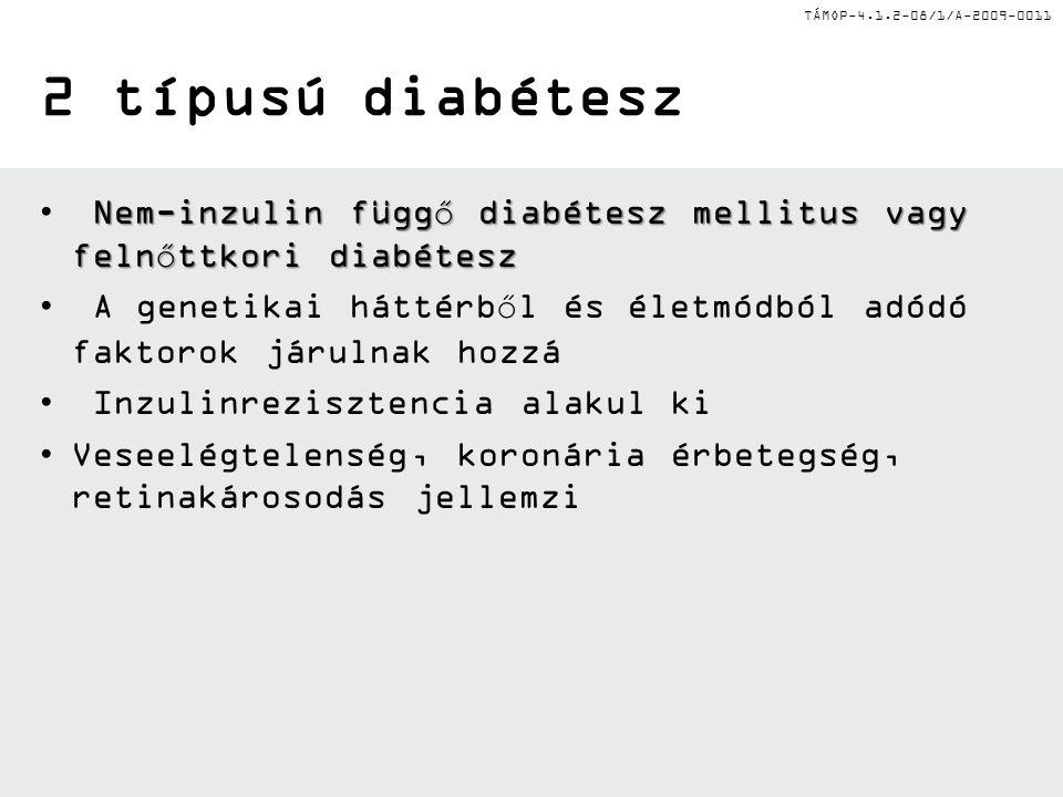 TÁMOP-4.1.2-08/1/A-2009-0011 2 típusú diabétesz Nem-inzulin függő diabétesz mellitus vagy felnőttkori diabétesz A genetikai háttérből és életmódból adódó faktorok járulnak hozzá Inzulinrezisztencia alakul ki Veseelégtelenség, koronária érbetegség, retinakárosodás jellemzi