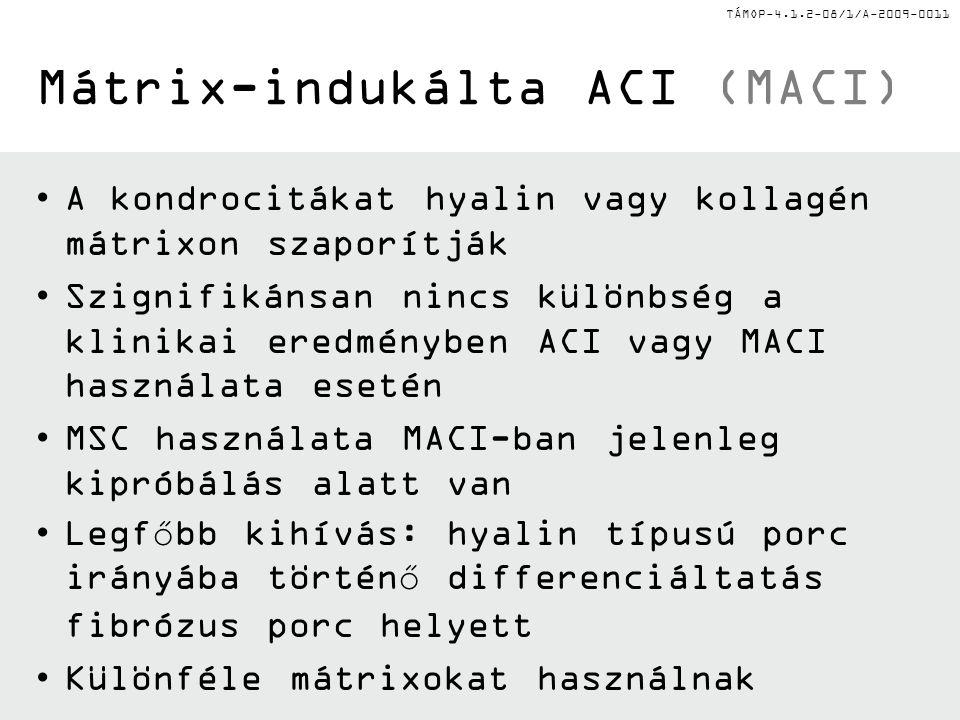 TÁMOP-4.1.2-08/1/A-2009-0011 Mátrix-indukálta ACI (MACI) A kondrocitákat hyalin vagy kollagén mátrixon szaporítják Szignifikánsan nincs különbség a klinikai eredményben ACI vagy MACI használata esetén MSC használata MACI-ban jelenleg kipróbálás alatt van Legfőbb kihívás: hyalin típusú porc irányába történő differenciáltatás fibrózus porc helyett Különféle mátrixokat használnak