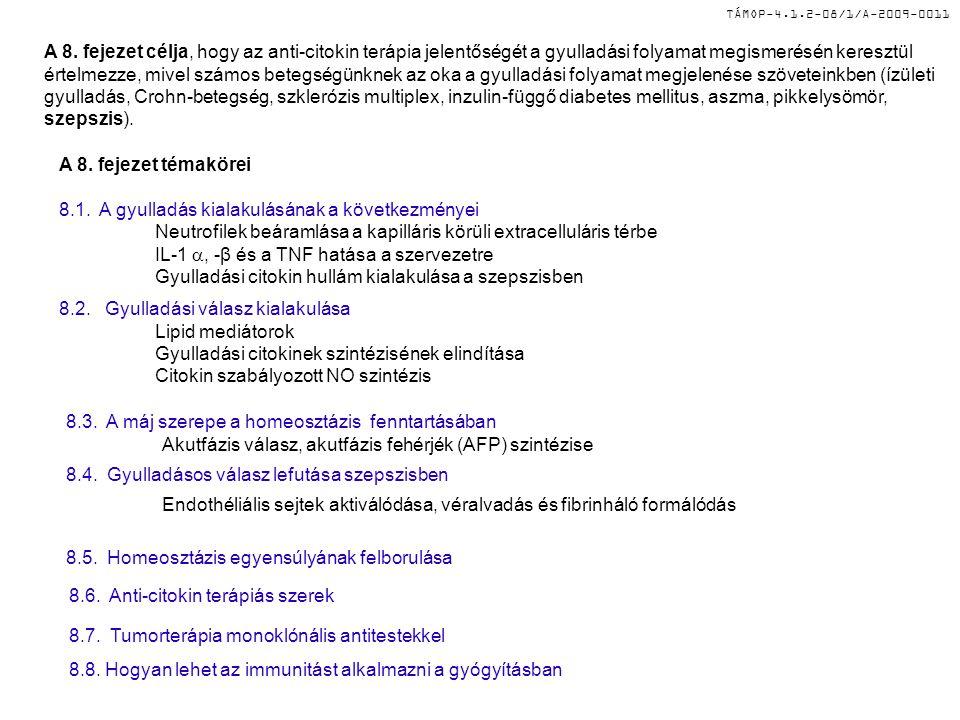 TÁMOP-4.1.2-08/1/A-2009-0011 A 8. fejezet célja, hogy az anti-citokin terápia jelentőségét a gyulladási folyamat megismerésén keresztül értelmezze, mi
