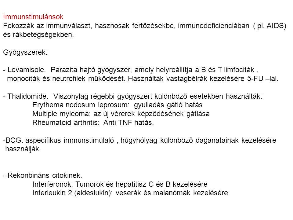 Immunstimulánsok Fokozzák az immunválaszt, hasznosak fertőzésekbe, immunodeficienciában ( pl. AIDS) és rákbetegségekben. Gyógyszerek: - Levamisole. Pa
