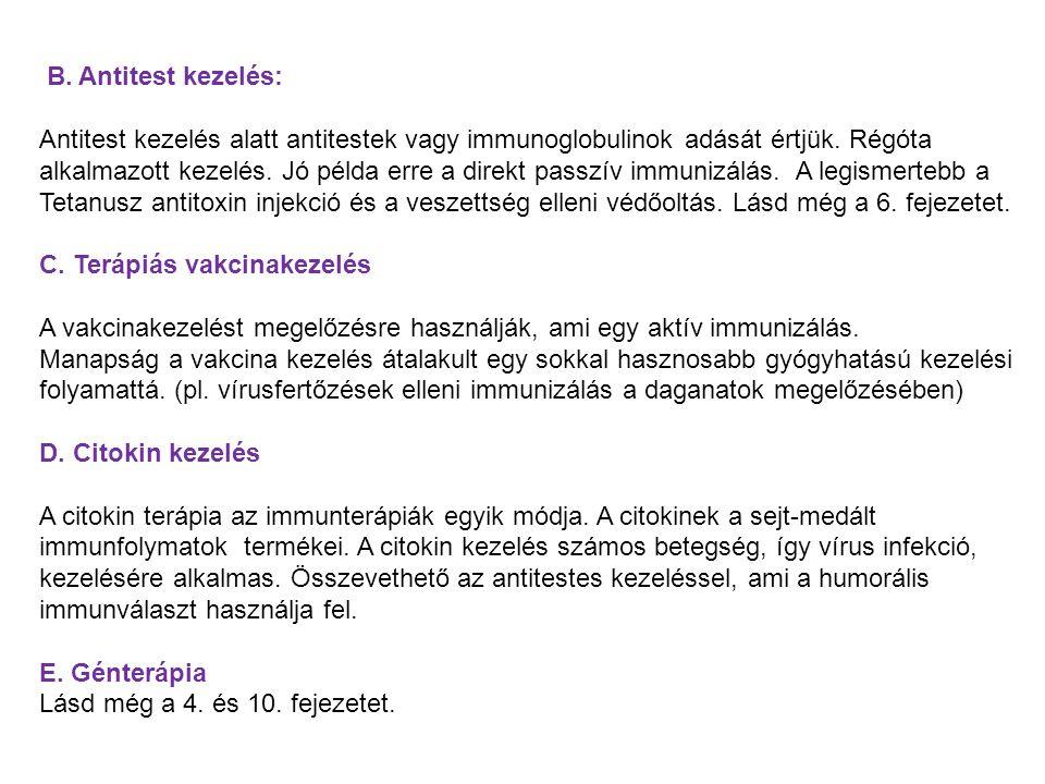 B. Antitest kezelés: Antitest kezelés alatt antitestek vagy immunoglobulinok adását értjük. Régóta alkalmazott kezelés. Jó példa erre a direkt passzív