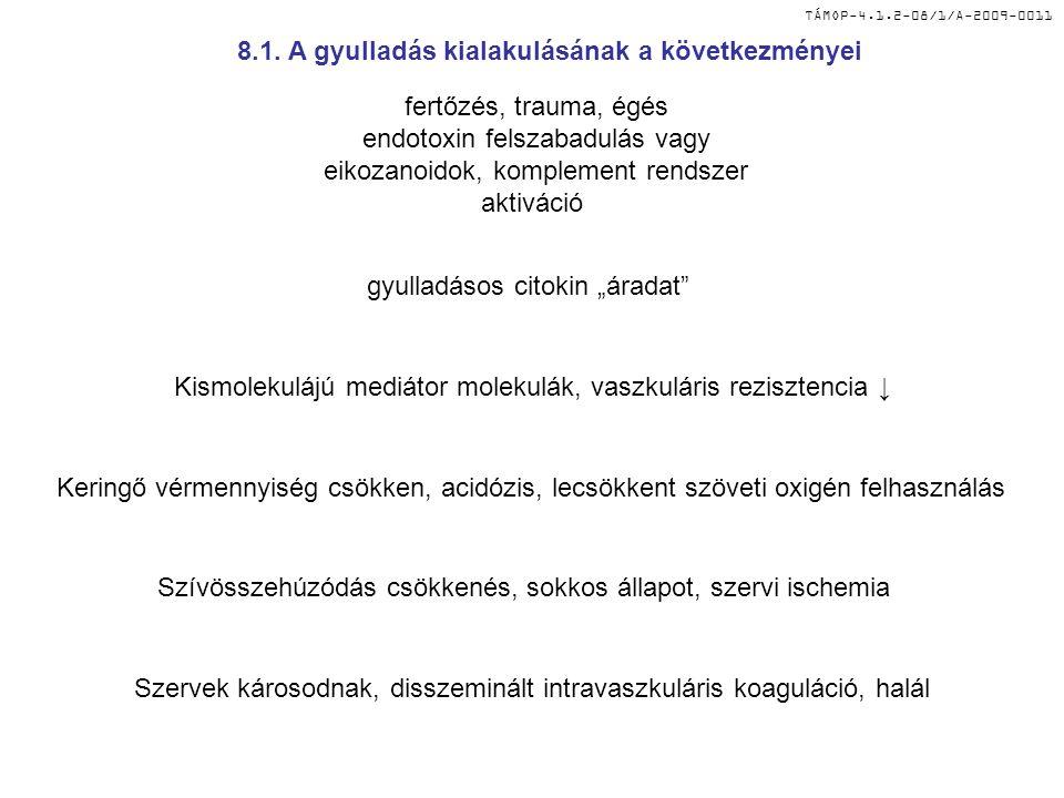 """TÁMOP-4.1.2-08/1/A-2009-0011 fertőzés, trauma, égés endotoxin felszabadulás vagy eikozanoidok, komplement rendszer aktiváció gyulladásos citokin """"árad"""