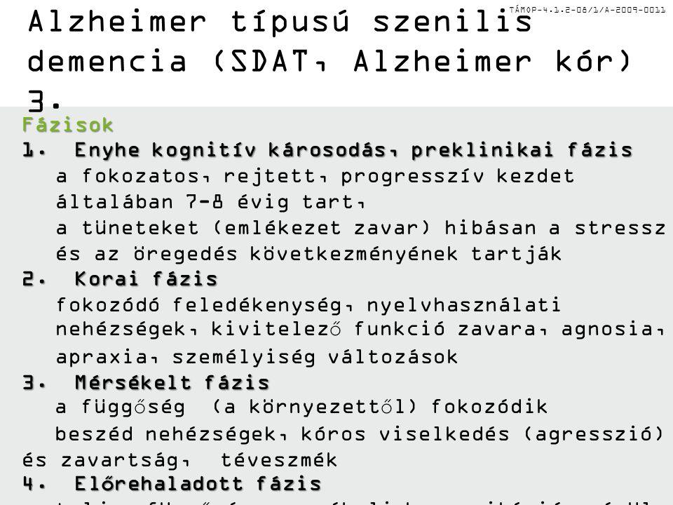 TÁMOP-4.1.2-08/1/A-2009-0011 Alzheimer típusú szenilis demencia (SDAT, Alzheimer kór) 3. Fázisok 1. Enyhe kognitív károsodás, preklinikai fázis a foko