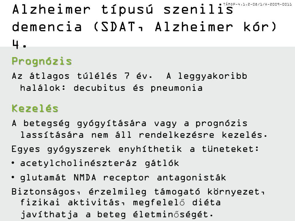 TÁMOP-4.1.2-08/1/A-2009-0011 Alzheimer típusú szenilis demencia (SDAT, Alzheimer kór) 4. Prognózis Az átlagos túlélés 7 év. A leggyakoribb halálok: de