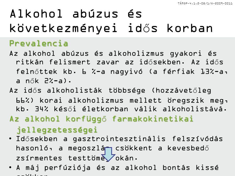 TÁMOP-4.1.2-08/1/A-2009-0011 Alkohol abúzus és következményei idős korban Prevalencia Az alkohol abúzus és alkoholizmus gyakori és ritkán felismert za