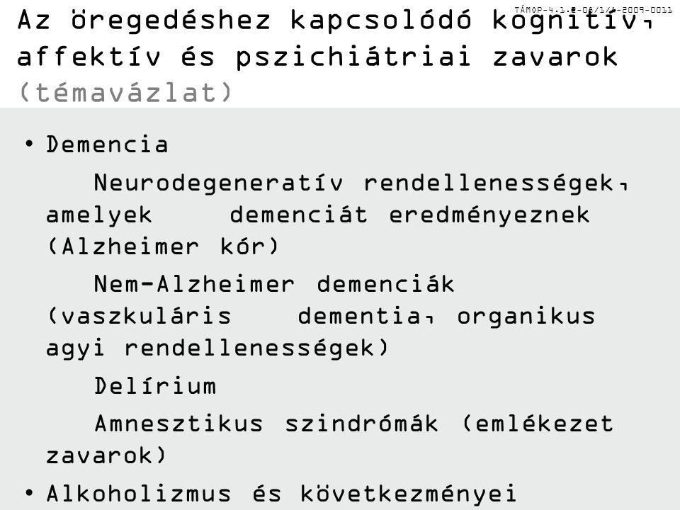"""TÁMOP-4.1.2-08/1/A-2009-0011 A depresszió (pszeudodemencia) és a demencia differenciáldiagnózisa PSZEUDO-DEMENCIADEMENCIA Panaszkodiknem panaszkodik Részletes kommunikációgyenge kommunikáció """"Nem tudom hibás válaszokat ad nem akarnagyon akar együttműködni"""