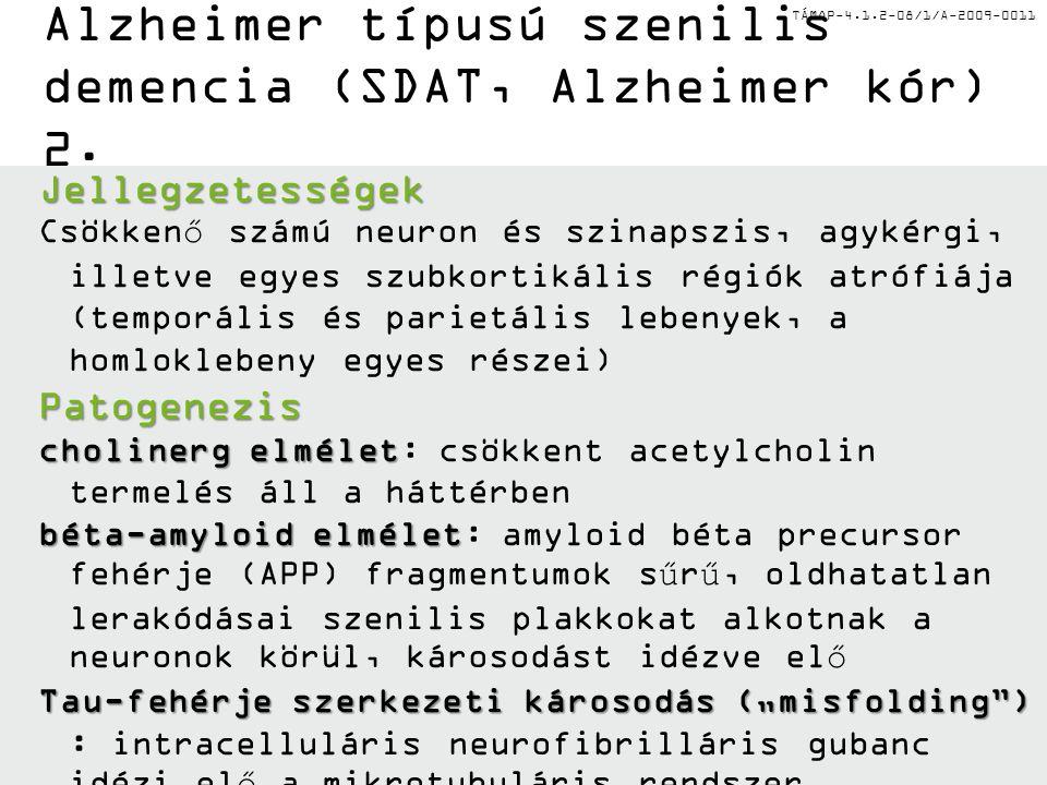 TÁMOP-4.1.2-08/1/A-2009-0011 Alzheimer típusú szenilis demencia (SDAT, Alzheimer kór) 2.Jellegzetességek Csökkenő számú neuron és szinapszis, agykérgi