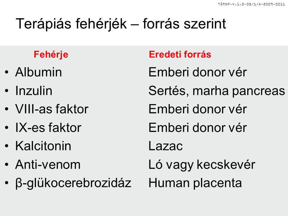 TÁMOP-4.1.2-08/1/A-2009-0011 Terápiás fehérjék – forrás szerint FehérjeEredeti forrás AlbuminEmberi donor vér InzulinSertés, marha pancreas VIII-as fa