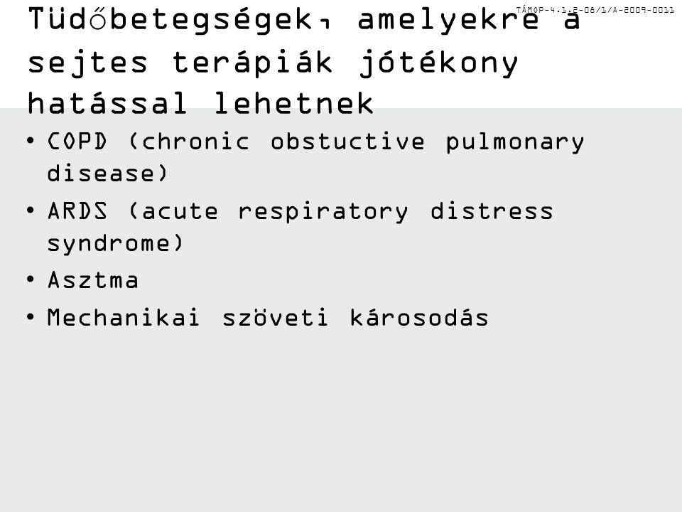 TÁMOP-4.1.2-08/1/A-2009-0011 Tüdőbetegségek, amelyekre a sejtes terápiák jótékony hatással lehetnek COPD (chronic obstuctive pulmonary disease) ARDS (acute respiratory distress syndrome) Asztma Mechanikai szöveti károsodás