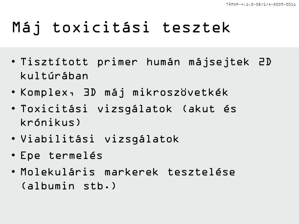 TÁMOP-4.1.2-08/1/A-2009-0011 Máj toxicitási tesztek Tisztított primer humán májsejtek 2D kultúrában Komplex, 3D máj mikroszövetkék Toxicitási vizsgálatok (akut és krónikus) Viabilitási vizsgálatok Epe termelés Molekuláris markerek tesztelése (albumin stb.)