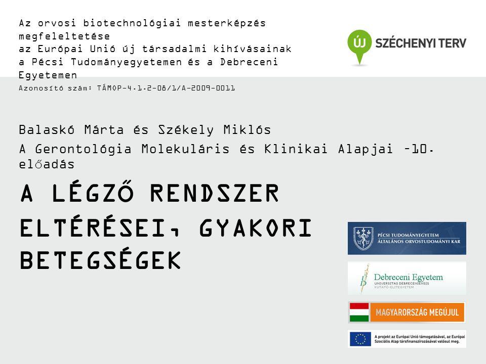 Az orvosi biotechnológiai mesterképzés megfeleltetése az Európai Unió új társadalmi kihívásainak a Pécsi Tudományegyetemen és a Debreceni Egyetemen Azonosító szám: TÁMOP-4.1.2-08/1/A-2009-0011 A LÉGZŐ RENDSZER ELTÉRÉSEI, GYAKORI BETEGSÉGEK Balaskó Márta és Székely Miklós A Gerontológia Molekuláris és Klinikai Alapjai –10.