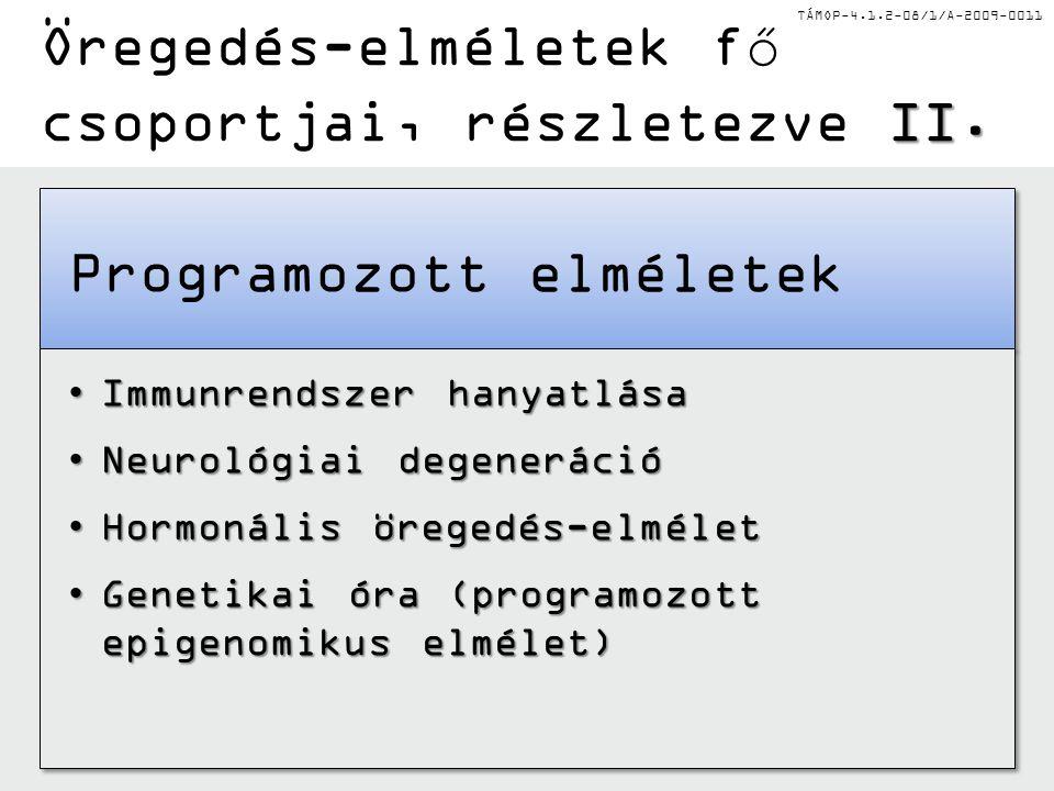 TÁMOP-4.1.2-08/1/A-2009-0011 II. Öregedés-elméletek fő csoportjai, részletezve II. Programozott elméletek Immunrendszer hanyatlásaImmunrendszer hanyat
