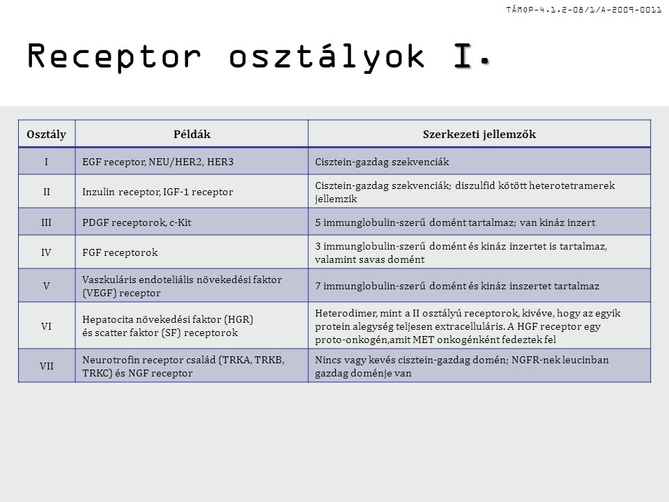 TÁMOP-4.1.2-08/1/A-2009-0011 II.Receptor osztályok II.