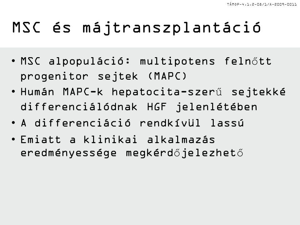 TÁMOP-4.1.2-08/1/A-2009-0011 MSC és májtranszplantáció MSC alpopuláció: multipotens felnőtt progenitor sejtek (MAPC) Humán MAPC-k hepatocita-szerű sejtekké differenciálódnak HGF jelenlétében A differenciáció rendkívül lassú Emiatt a klinikai alkalmazás eredményessége megkérdőjelezhető