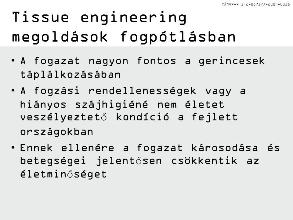 TÁMOP-4.1.2-08/1/A-2009-0011 Tissue engineering megoldások fogpótlásban A fogazat nagyon fontos a gerincesek táplálkozásában A fogzási rendellenessége
