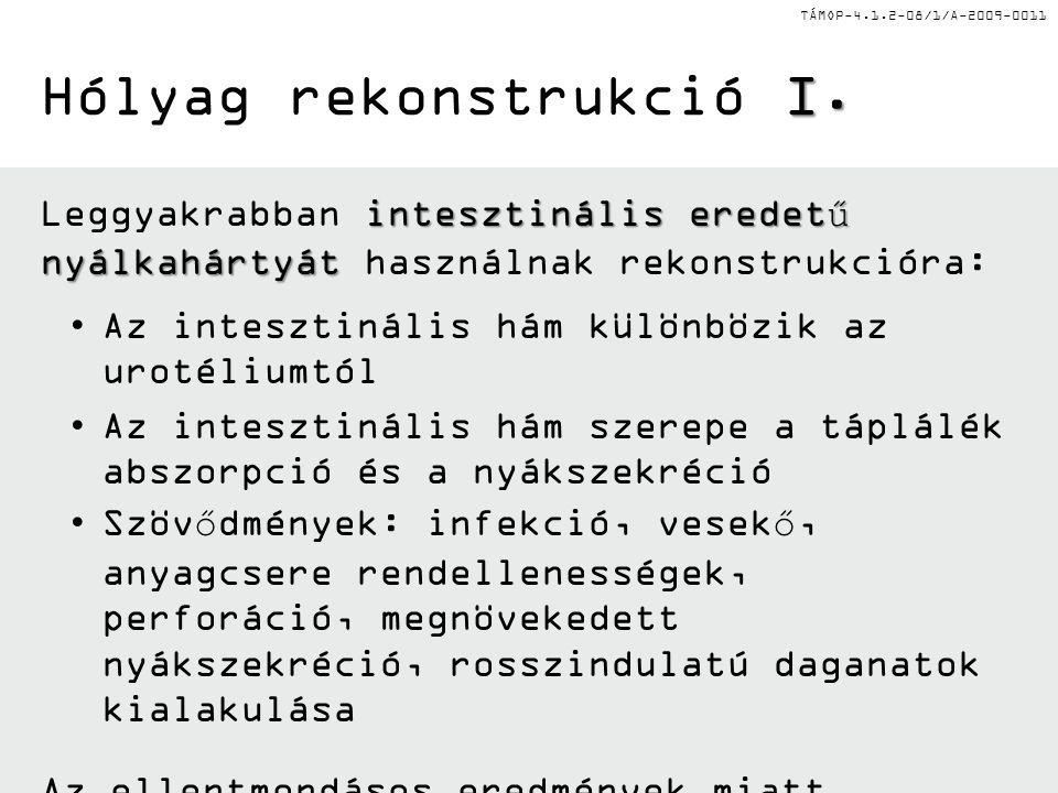 TÁMOP-4.1.2-08/1/A-2009-0011 I. Hólyag rekonstrukció I. intesztinális eredetű nyálkahártyát Leggyakrabban intesztinális eredetű nyálkahártyát használn