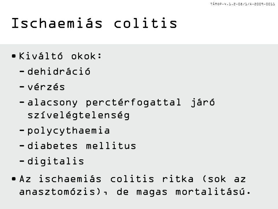 TÁMOP-4.1.2-08/1/A-2009-0011 Kiváltó okok: -dehidráció -vérzés -alacsony perctérfogattal járó szívelégtelenség -polycythaemia -diabetes mellitus -digitalis Az ischaemiás colitis ritka (sok az anasztomózis), de magas mortalitású.