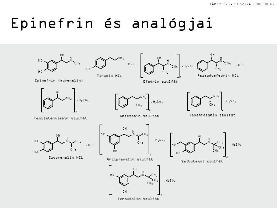 TÁMOP-4.1.2-08/1/A-2009-0011 Epinefrin és analógjai HO OH CH 3 H N Epinefrin (adrenalin) Tiramin HCL HO NH 2.HCL OH CH 3 H N Efedrin szulfát CH 3 2.H 2 SO 4 Pszeudoefedrin HCL OH CH 3 H N.HCL Dexamfetamin szulfát NH 2 CH 3 2.H 2 SO 4 Amfetamin szulfát NH 2 CH 3 2.H 2 SO 4 Feniletanolamin szulfát NH 2 OH 2.H 2 SO 4 Izoprenalin HCL N OH.HCL H HO CH 3 Orciprenalin szulfát N OH H HO OH CH 3.H 2 SO 4 2 2 Salbutamol szulfát N OH H HO CH 3 HO CH 3.H 2 SO 4 2 Terbutalin szulfát N OH H CH 3 HO OH