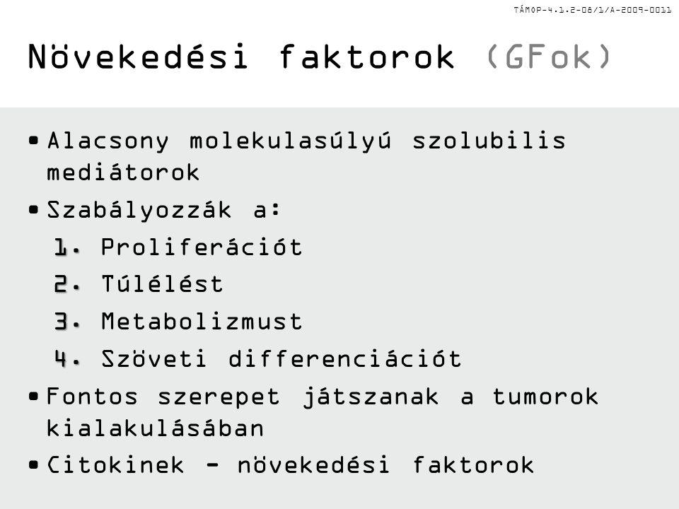 TÁMOP-4.1.2-08/1/A-2009-0011 Növekedési faktorok (GFok) Alacsony molekulasúlyú szolubilis mediátorok Szabályozzák a: 1.