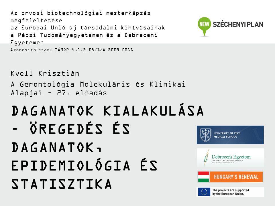 DAGANATOK KIALAKULÁSA – ÖREGEDÉS ÉS DAGANATOK, EPIDEMIOLÓGIA ÉS STATISZTIKA Az orvosi biotechnológiai mesterképzés megfeleltetése az Európai Unió új t