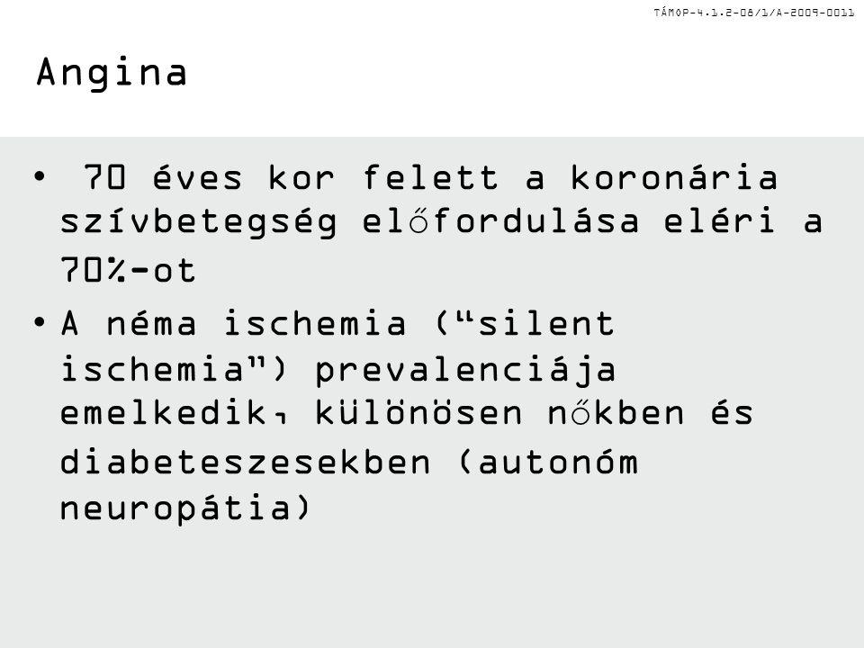"""TÁMOP-4.1.2-08/1/A-2009-0011 Angina 70 éves kor felett a koronária szívbetegség előfordulása eléri a 70%-ot A néma ischemia (""""silent ischemia"""") preval"""