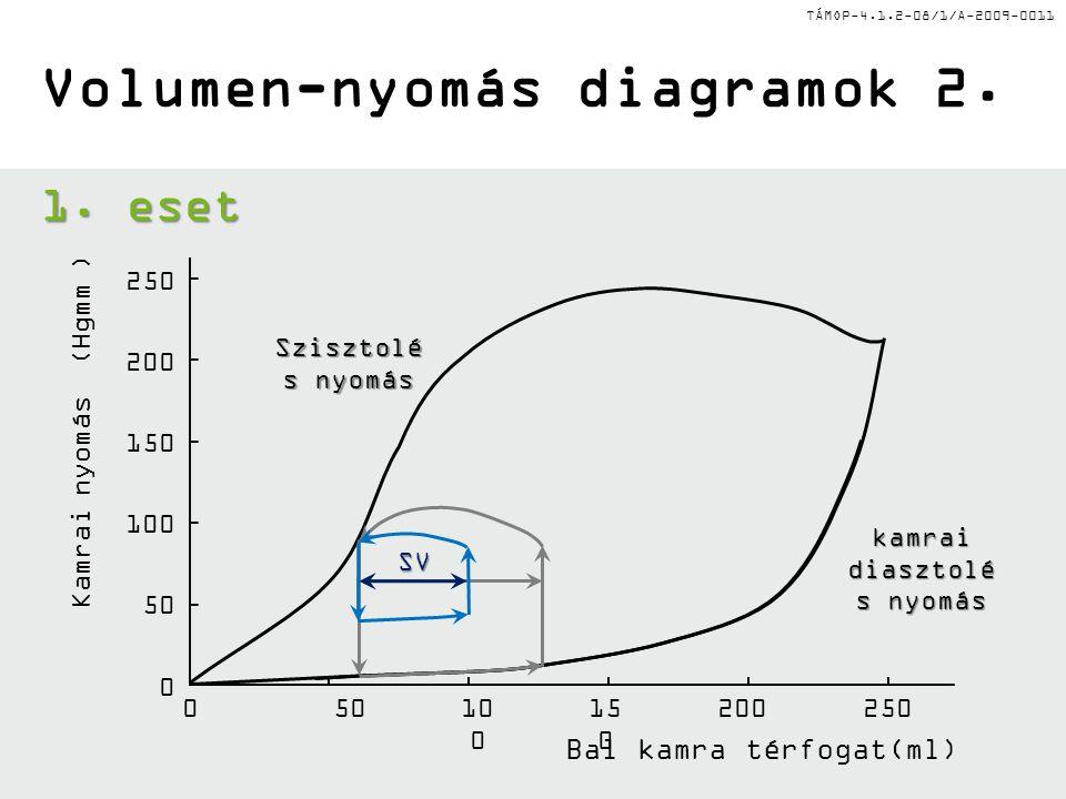 TÁMOP-4.1.2-08/1/A-2009-0011 Bal kamra térfogat(ml) Volumen-nyomás diagramok 2. 05010 0 15 0 200250 0 50 100 150 200 250 1. eset Szisztolé s nyomás ka