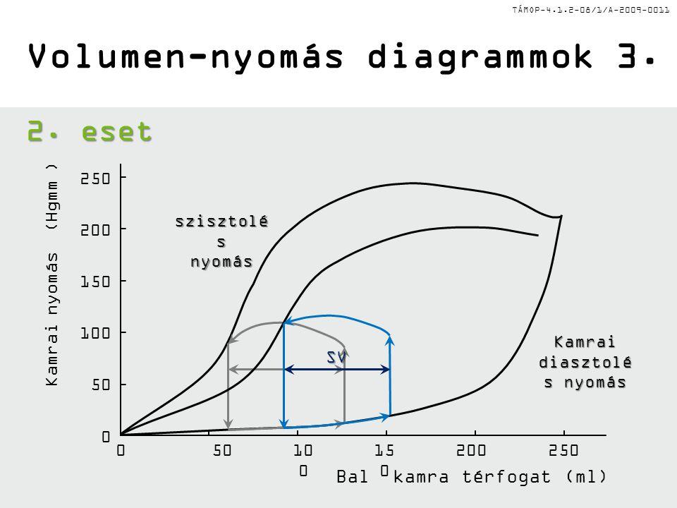 TÁMOP-4.1.2-08/1/A-2009-0011 Bal kamra térfogat (ml) Kamrai diasztolé s nyomás Volumen-nyomás diagrammok 3. 05010 0 15 0 200250 0 50 100 150 200 250 2