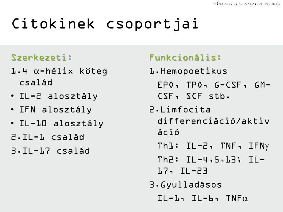 TÁMOP-4.1.2-08/1/A-2009-0011 Citokinek csoportjai Szerkezeti: 1.4  -hélix köteg család IL-2 alosztály IFN alosztály IL-10 alosztály 2.IL-1 család 3.IL-17 család Funkcionális: 1.Hemopoetikus EPO, TPO, G-CSF, GM- CSF, SCF stb.