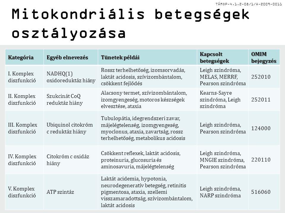 TÁMOP-4.1.2-08/1/A-2009-0011Kategória Egyéb elnevezés Tünetek példái Kapcsolt betegségek OMIM bejegyzés I. Komplex diszfunkció NADHQ(1) oxidoreduktáz