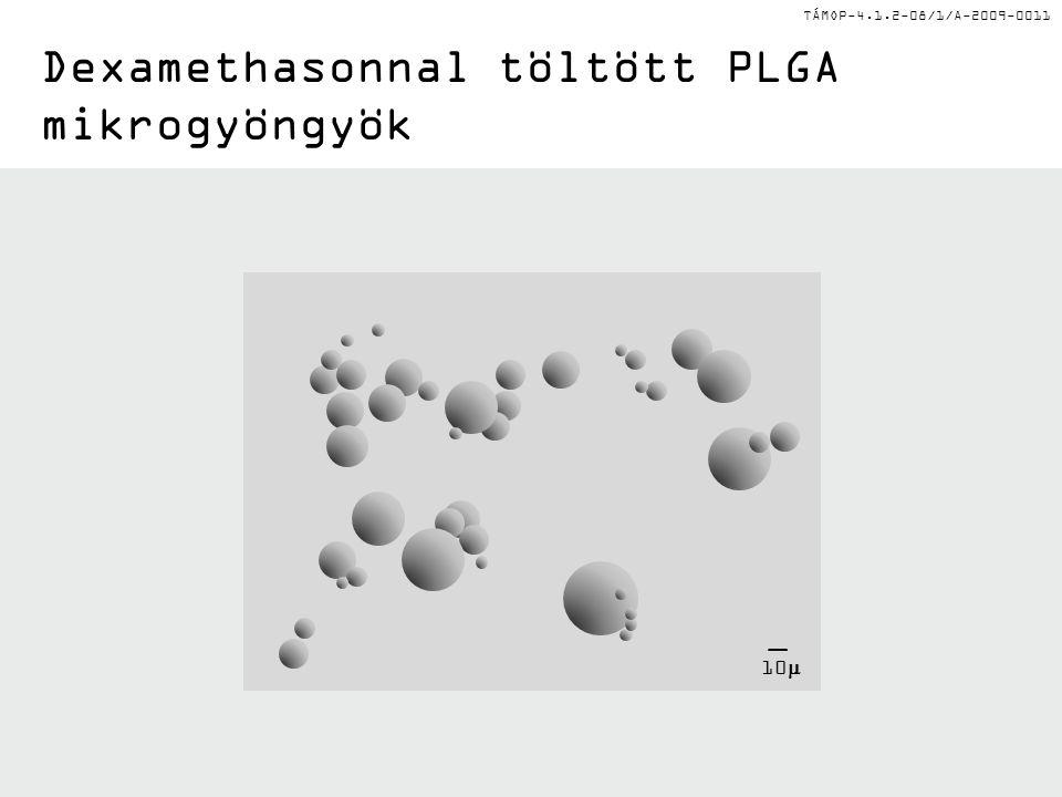 TÁMOP-4.1.2-08/1/A-2009-0011 Dexamethasonnal töltött PLGA mikrogyöngyök 10 