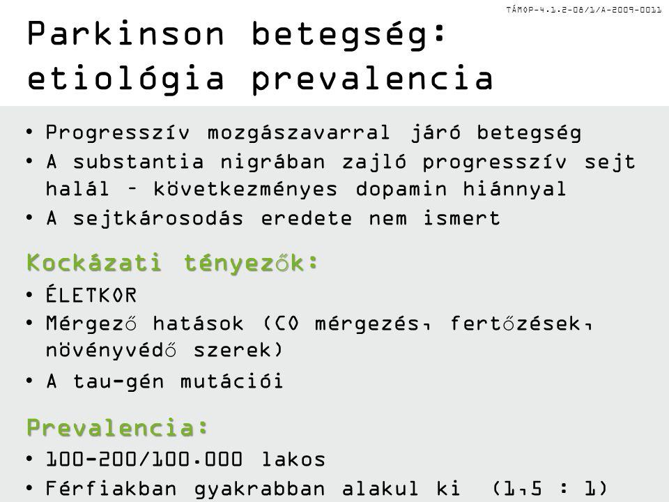TÁMOP-4.1.2-08/1/A-2009-0011 Neurotranszmitter zavar Parkinson betegségben Egyensúly a dopamin, ill.