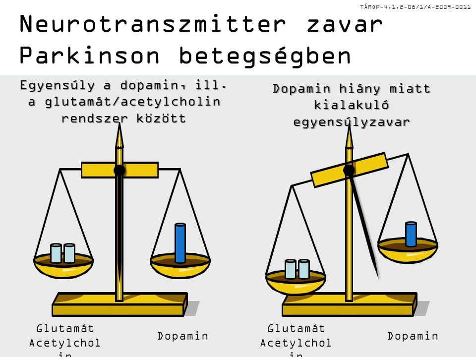 """TÁMOP-4.1.2-08/1/A-2009-0011 Parkinson betegség: korai tünetek Tünetek: Aszimmetria:Aszimmetria: egy-oldali mozgászavar -tremor (nyugalomban is látható, tartós erőfeszítésre romlik), -izommerevség (a végtagok passzív mozgatásakor fogaskerék tünet), -hypo- and bradykinesia (nehéz a mozdulat indítása, menet közben """"lefagy ), -mimika hiánya (maszk szerű arc, csökkent pislogás) -poszturális tartási rendellenességek -lassú, monoton beszéd LevodopaLevodopa adásra a tünetek javulnak Hosszú-távú levodopa kezelés önmagában dyskinesishez vezet."""