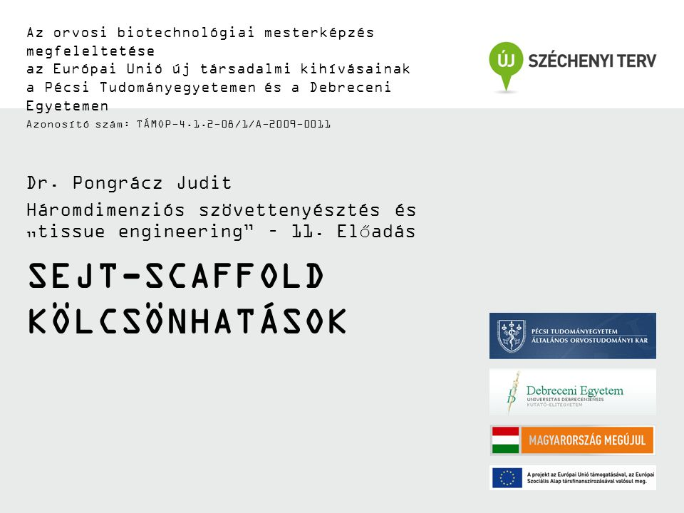 SEJT-SCAFFOLD KÖLCSÖNHATÁSOK Az orvosi biotechnológiai mesterképzés megfeleltetése az Európai Unió új társadalmi kihívásainak a Pécsi Tudományegyetemen és a Debreceni Egyetemen Azonosító szám: TÁMOP-4.1.2-08/1/A-2009-0011 Dr.