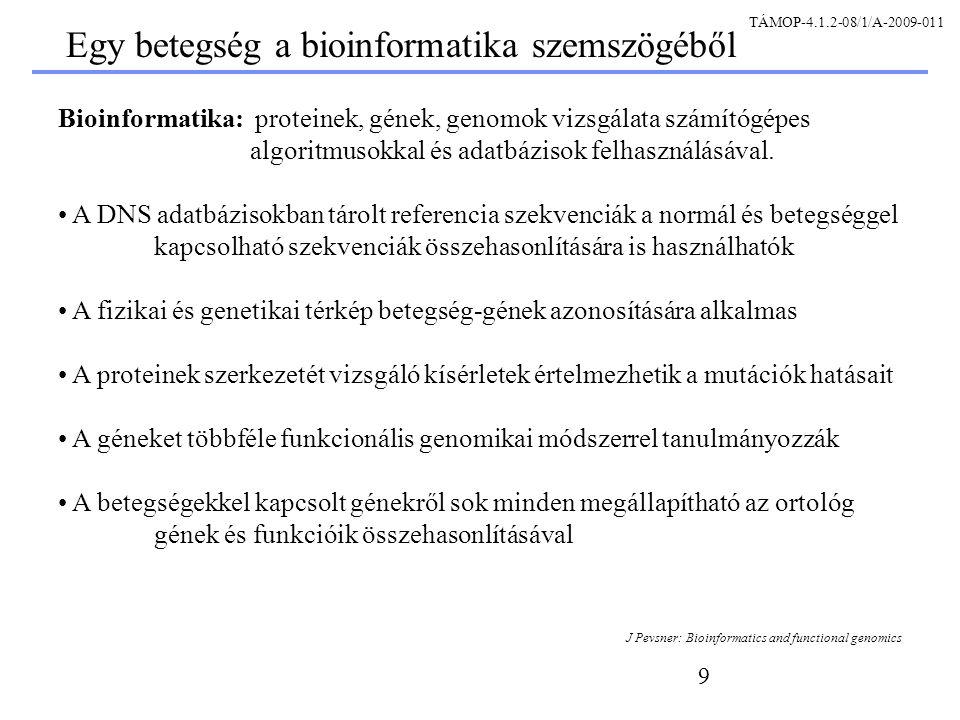 10 Négy alapvető betegségtípus: A betegségek alaptípusai Monogénes komplex genomikai környezeti J Pevsner: Bioinformatics and functional genomics TÁMOP-4.1.2-08/1/A-2009-011