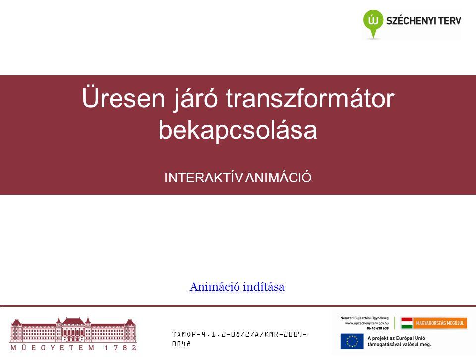 TAMOP-4.1.2-08/2/A/KMR-2009- 0048 INTERAKTÍV ANIMÁCIÓ Üresen járó transzformátor bekapcsolása Animáció indítása