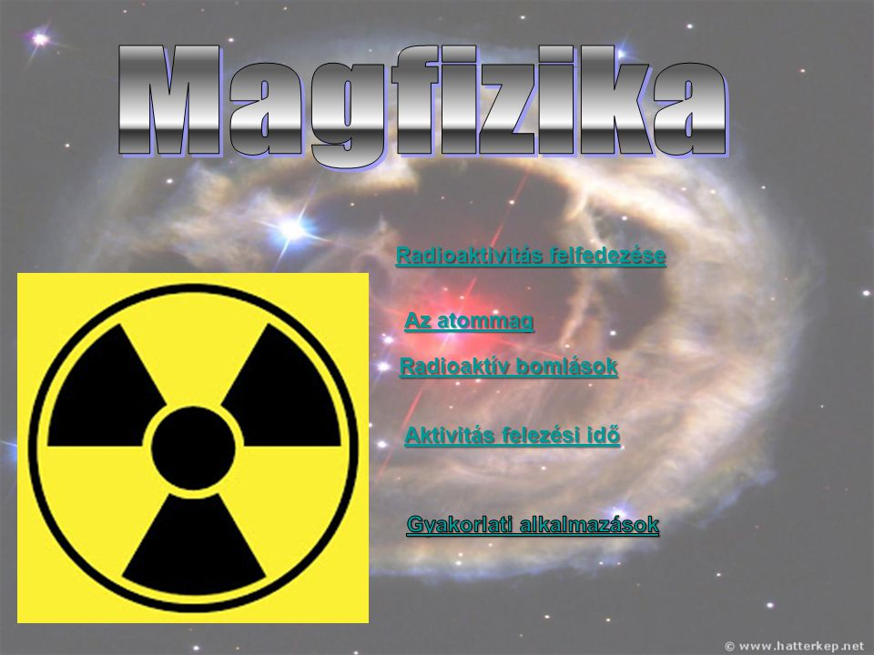 Radioaktivitás felfedezése Radioaktivitás felfedezése Az atommag Az atommag Radioaktív bomlások Radioaktív bomlások Aktivitás felezési idő Aktivitás f