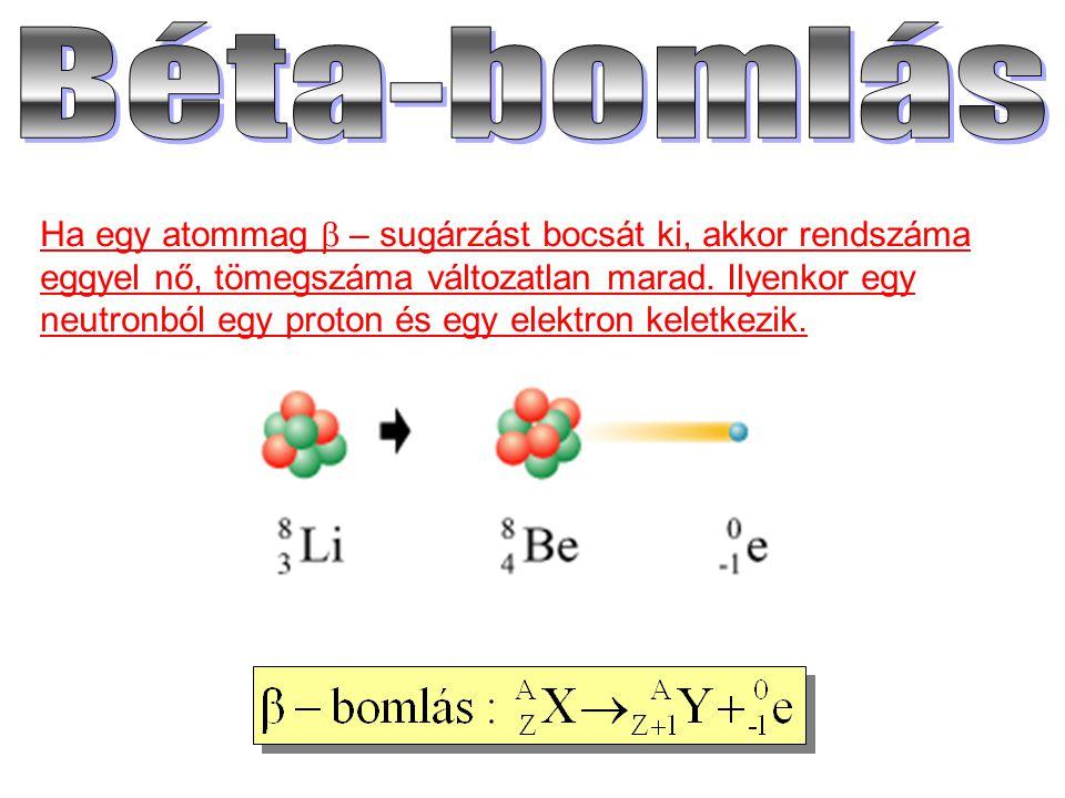 Ha egy atommag  – sugárzást bocsát ki, akkor rendszáma eggyel nő, tömegszáma változatlan marad. Ilyenkor egy neutronból egy proton és egy elektron ke